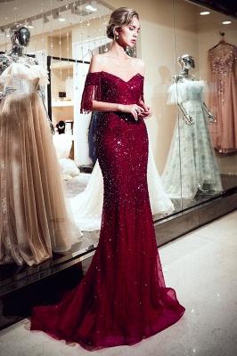 MELISSA | Mermaid Off-the-shoulder V-neck Floor Length Sequins Evening Dresses_6