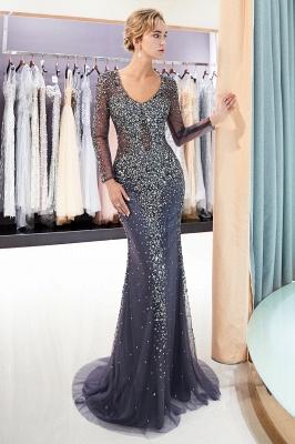 MAUREEN | Mermaid V-neck Long Sleeves Sparkly Beading Evening Dresses_6