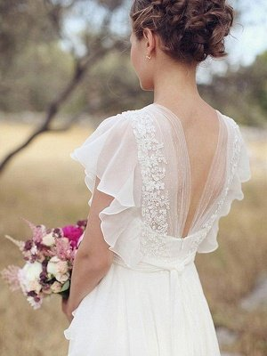 Ruched Floor-Length A-Line V-neck Chiffon Short Sleeves Wedding Dresses_3