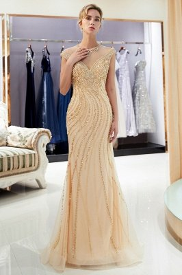MARTHA | Mermaid Floor Length Sleeveless Golden Beading Evening Gowns