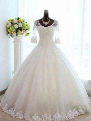 Floor-Length Tulle Ball Gown Beading V-neck 3/4 Sleeves Bateau Wedding Dresses