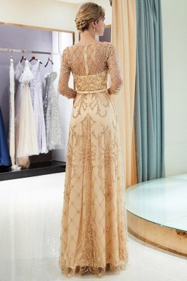 MELODY | A-line Illusion Neckline Long Beading Evening Gowns with Sleeves_22