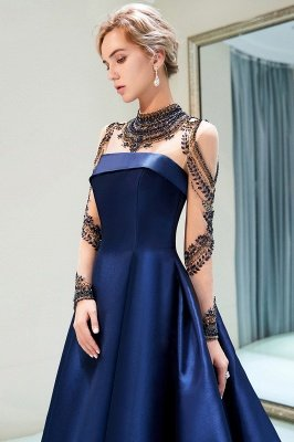 MARIN | A-line Long Sleeves Beading Neckline Satin Evening Gowns_6