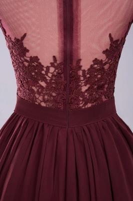 A-ligne en mousseline de soie dentelle bijou manches rez-de-longueur robes de demoiselle d'honneur avec des appliques_12