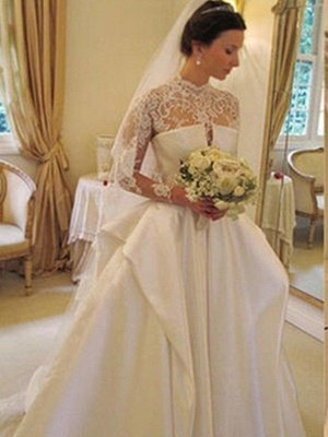 Chapel Train Satin Lace Ball Gown Long Sleeves High Neck Wedding Dresses