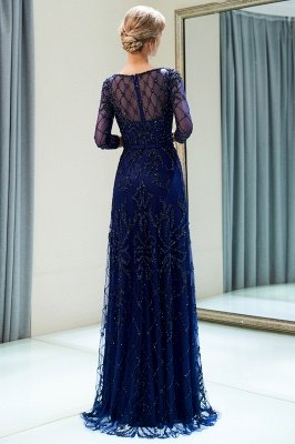 MELODY | A-line Illusion Neckline Long Beading Evening Gowns with Sleeves_17