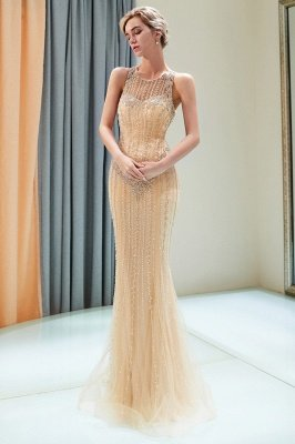 MATILDA | Mermaid Floor Length Sleeveless Beading Golden Evening Dresses