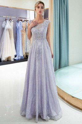 MARNIE | A-line Sleeveless Lace Appliques Flowers Formal Dresses