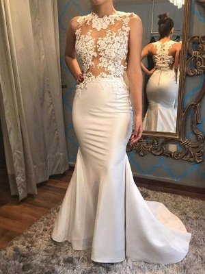 Satin Mermaid Scoop Sleeveless Applique Court Train Wedding Dresses_3