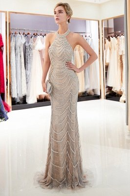 MAURA | Mermaid Halter Sleeveless Long Sequined Pattern Evening Dresses