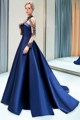 MARIN | A-line Long Sleeves Beading Neckline Satin Evening Gowns_5