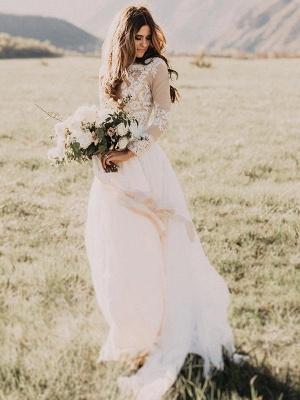 Manches longues -parole longueur appliques tulle une ligne robes de mariée scoop_3