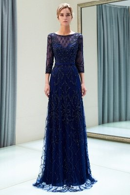 MELODY | A-line Illusion Neckline Long Beading Evening Gowns with Sleeves_14
