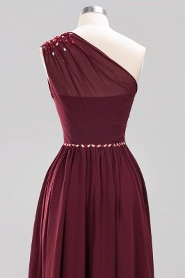 Elegant A-Line Burgundy Chiffon One-Shoulder Sleeveless Ruffles Floor-Length Bridesmaid Dresses with Beadings_18