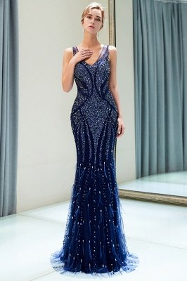 MATHILDA | Mermaid Sleeveless V-neck Sequins Pattern Long Evening Gowns_7