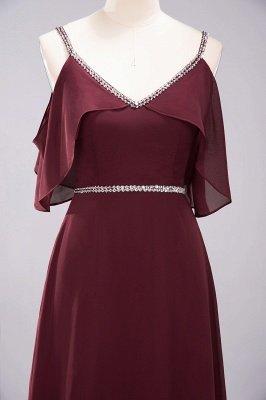 Elegant A-line Chiffon V-Neck Spaghetti Straps Sleeveless Floor-Length Bridesmaid Dresses with Beading Sash_7