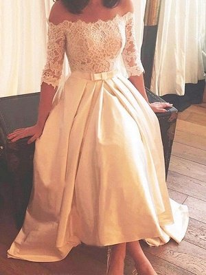 1/2 Sleeves Lace A-Line Asymmetrical Sweep Train Satin Off-the-Shoulder Wedding Dresses_1