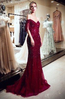 MELISSA | Mermaid Off-the-shoulder V-neck Floor Length Sequins Evening Dresses_7