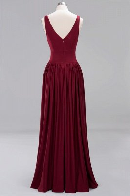 A-Line Jersey V-Neck Sleeveless Long Bridesmaid with Ruffles_6