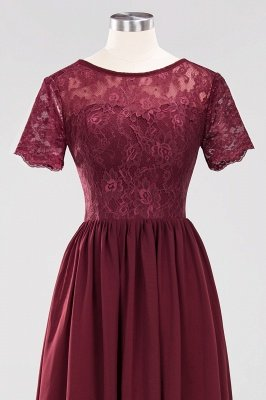 A-line Chiffon Lace Jewel Short-Sleeves Floor-length Bridesmaid Dress_43