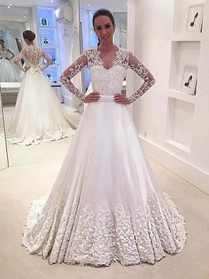 V-neck Satin A-Line Sweep Train Long Sleeves Wedding Dresses_1