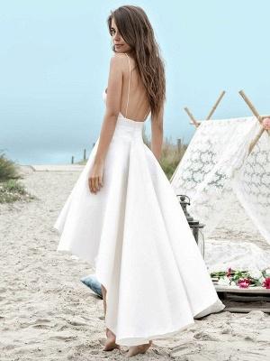 Sleeveless A-Line Asymmetrical Satin Spaghetti Straps Ruched Wedding Dresses_3