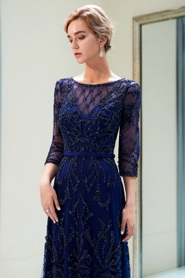 MELODY | A-line Illusion Neckline Long Beading Evening Gowns with Sleeves_16
