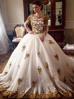 Scoop Tulle Ball Gown Long Sleeves Court Train Wedding Dresses_1