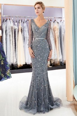 MAVIS | Mermaid Long Sleeves V-neck Sequins Evening Gowns with Sash_1