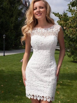 Column Scoop Floor-Length Lace Tulle Sleeveless Wedding Dresses_4