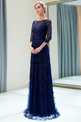 MELODY | A-line Illusion Neckline Long Beading Evening Gowns with Sleeves_12