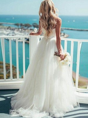 Sweep Train Ball Gown Sleeveless Tulle Sweetheart Wedding Dresses_3