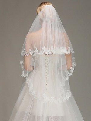Elegante dos capas encaje borde velo de novia apliques velo nupcial largo