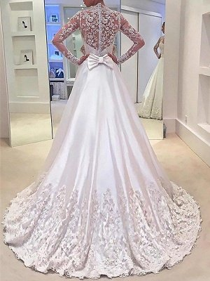 V-neck Satin A-Line Sweep Train Long Sleeves Wedding Dresses_3