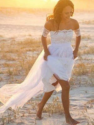 Sleeveless A-Line Floor-Length Off-the-Shoulder Lace Chiffon Wedding Dresses_1