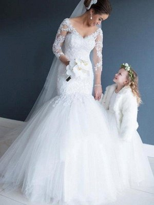Court Train Mermaid 3/4 Sleeves Tulle Lace V-neck Wedding Dresses