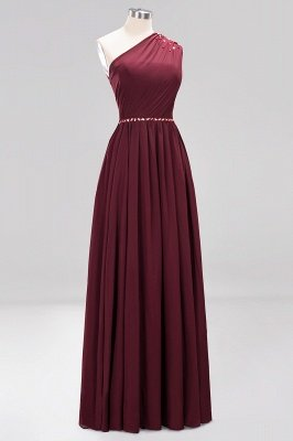 Elegant A-Line Burgundy Chiffon One-Shoulder Sleeveless Ruffles Floor-Length Bridesmaid Dresses with Beadings_16