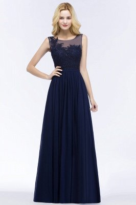 Dark Navy A-line Chiffon Scoop Sleeveless Floor-Length Bridesmaid Dresses