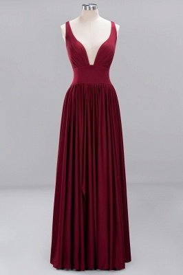 A-Line Jersey V-Neck Sleeveless Long Bridesmaid with Ruffles_1