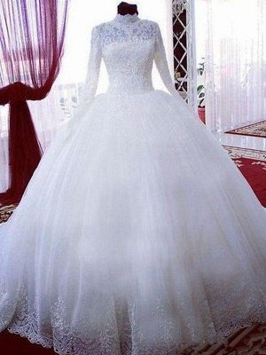 Chapel Train Lace Ball Gown Tulle High Neck Long Sleeves Wedding Dresses