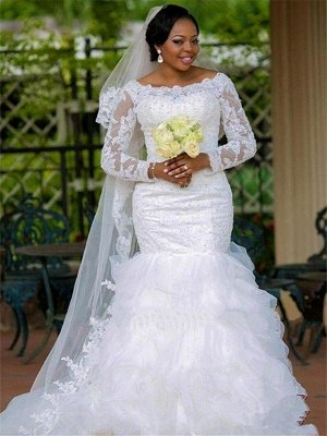 Square Mermaid Chapel Train Organza Long Sleeves Applique Wedding Dresses