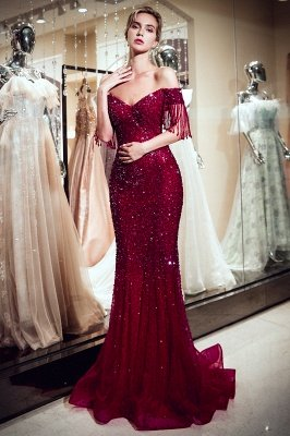MELISSA | Mermaid Off-the-shoulder V-neck Floor Length Sequins Evening Dresses_1