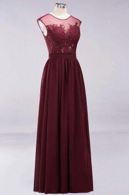 A-ligne en mousseline de soie dentelle bijou manches rez-de-longueur robes de demoiselle d'honneur avec des appliques_10