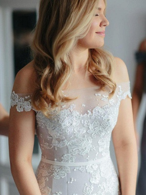 Applique Mermaid Off-the-Shoulder Lace Tulle Court Train Sleeveless Wedding Dresses