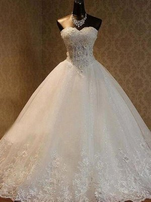 Tulle Ball Gown Floor-Length Sweetheart Beading Sleeveless Wedding Dresses