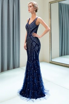 MATHILDA | Mermaid Sleeveless V-neck Sequins Pattern Long Evening Gowns_8