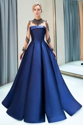 MARIN | A-line Long Sleeves Beading Neckline Satin Evening Gowns_4