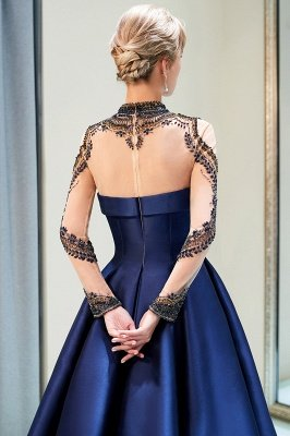 MARIN | A-line Long Sleeves Beading Neckline Satin Evening Gowns_7