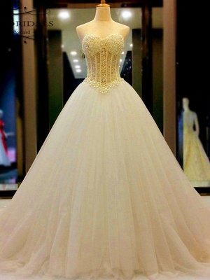 Tulle Ball Gown Sleeveless Sweetheart Court Train Beading Wedding Dresses