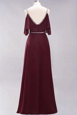 Elegant A-line Chiffon V-Neck Spaghetti Straps Sleeveless Floor-Length Bridesmaid Dresses with Beading Sash_6